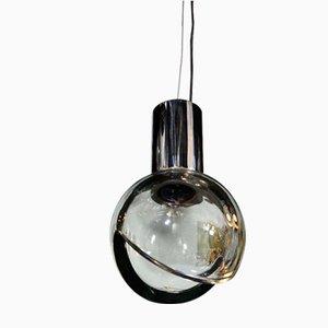 Lampe à Suspension Globe en Verre Gris de Seguso, 1960s