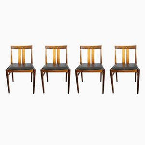 Vintage Rosewood Side Chairs with Leather Seats, Set of 4