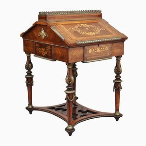 Antique French Freestanding Inlaid Marquetry Kingwood Desk, 1860s