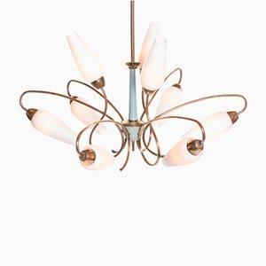 Lámpara de araña italiana moderna vintage de latón y vidrio opalino, años 50