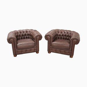 Vintage Leather Chesterfield Armchairs, 1960s, Set of 2
