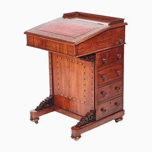 Freistehender viktorianischer Davenport Schreibtisch aus Nussholz mit Intarsien, 1870er