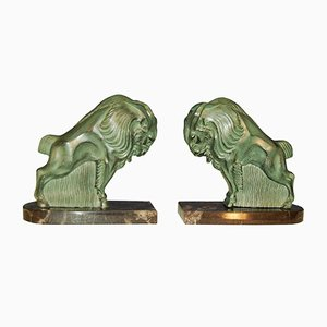 Art Deco Bison Sculptures, Set of 2