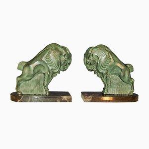 Esculturas de bisontes Art Déco. Juego de 2
