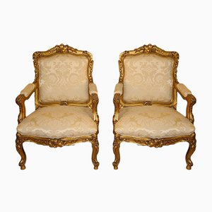 Large Antique Gilt Wood Armchairs, Set of 2