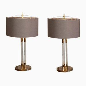 Grandes Lampes Vintage en Lucite et en Laiton Doré, Set de 2