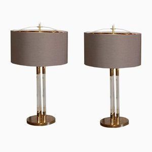 Large Vintage Lucite and Golden Brass Lamps, Set of 2