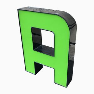 Lettera A vintage verde in plexiglas
