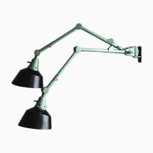 Lampes Articulées Industrielles Vertes par Curt Fischer pour Midgard, 1960s, Set de 2