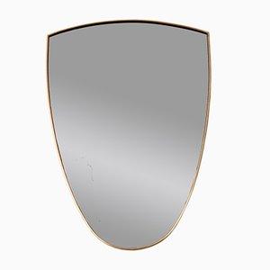 Specchio da parete in ottone, Italia, anni '50