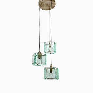 Italian Green Hammered Glass 3-Light Ceiling Lamp, 1950s