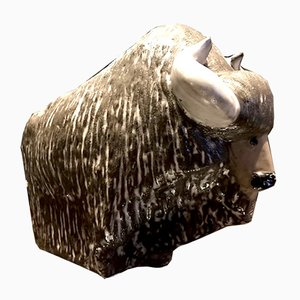 Büffelfigur aus Keramik von Göran Andersson für Upsala-Ekeby, 1960er