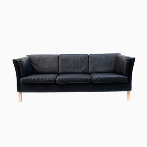 Vintage Danish Black Leather Sofa