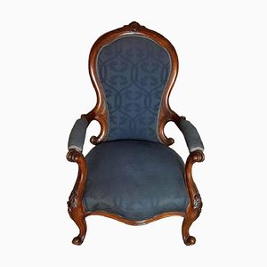 Antique Solid Walnut Armchair