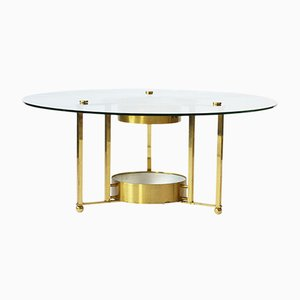 Vintage Brass and Glass Round Coffee Table, 1960s