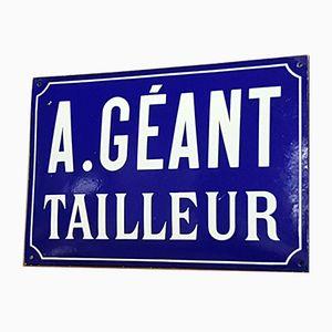 Señal de sastre francesa grande esmaltada, años 40