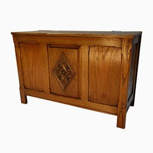 English Hand Carved Linen Chest, 1940s