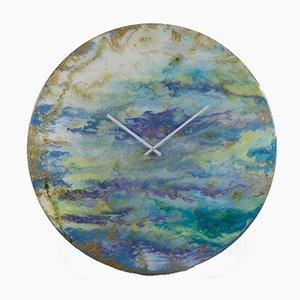 Grande Horloge Murale Art Illuminée en Verre par Craig Anthony pour Reformations