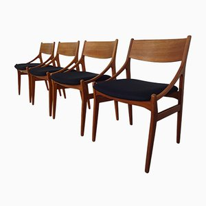 Sillas de comedor danesas de teca de Vestervig Eriksen, años 60. Juego de 4