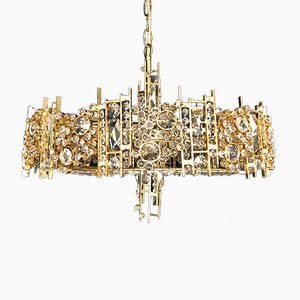 Gold-Plated Brass & Crystal Chandelier from Palwa, 1970s