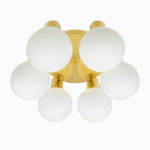 Lampe Orbite Vintage en Laiton avec Abat-Jours Globes en Opaline