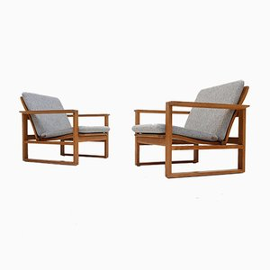 Oak 2256 Sled Chairs by Børge Mogensen for Fredericia, 1960s, Set of 2