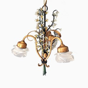 Vintage French Floral Tole Chandelier