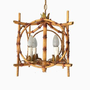 French Faux Bamboo Pagoda Tole Light, 1950s