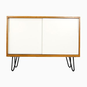 Vintage Walnut Sideboard with Steel Legs and White Sliding Doors