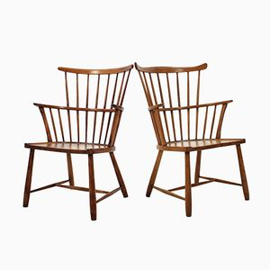 Beech Windsor Chairs by Ove Bolt for Fritz Hansen, 1950s, Set of 2
