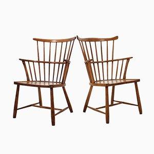 Windsor Stühle aus Buche von Ove Bolt für Fritz Hansen, 1950er, 2er Set