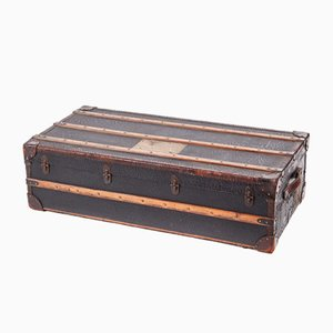 Large Vintage Oak & Leather Trunk, 1920s