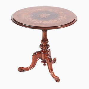Victorian Burr Walnut Inlaid Marquetry Wine/Lamp Table, 1850s