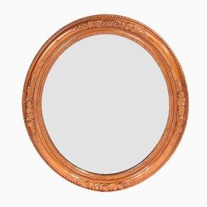 Specchio da parete ovale antico dorato intagliato