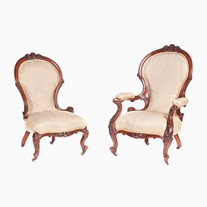 Victorian Carved Walnut Chairs, 1850s, Set of 2