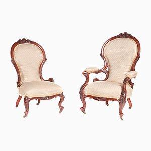 Viktorianische Stühle aus geschnitztem Nussholz, 1850er, 2er Set