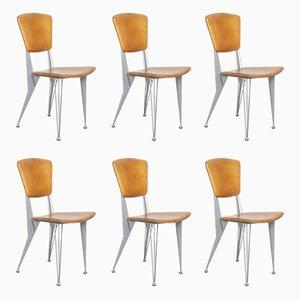 Vintage Esszimmerstühle aus Leder und Metall von Fasem, 1992, 6er Set