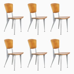 Vintage Leather and Metal Dining Chairs from Fasem, 1992, Set of 6