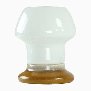 Vintage Tischlampe aus Porzellan & weißem Opalglass von Kamenicky Senov
