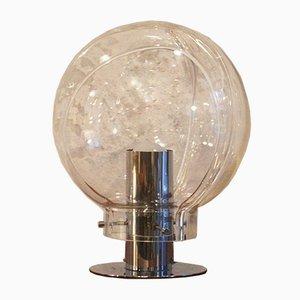 Lampada da tavolo Space Age in metallo cromato e vetro soffiato a mano di Wila, anni '70