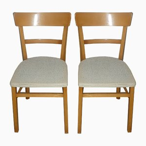 White Kitchen Chairs, 1950s, Set of 2