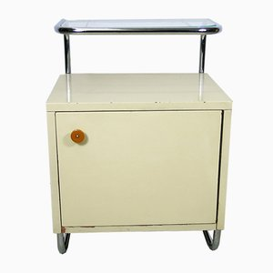 Vintage Tubular Steel Frame and Glass Bedside Table from Kovona
