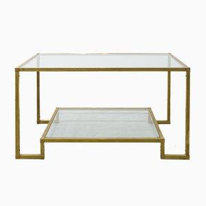 Rechteckiger spanischer Tisch aus Messing & Glas, 1970er