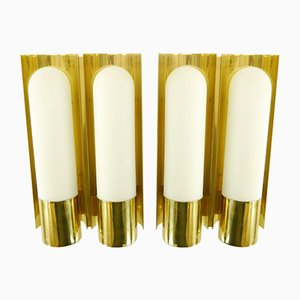 Brass & Opaline Glass Wall Lights from Limburg, 1970s, Set of 2