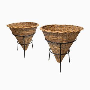 Mid-Century Metal Wicker Baskets, Set of 2