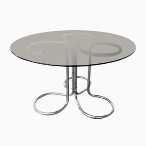 Chromed-Metal & Smoked Glass Dining Table, 1970s
