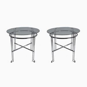Mesas francesas vintage de acero cromado, años 70. Juego de 2
