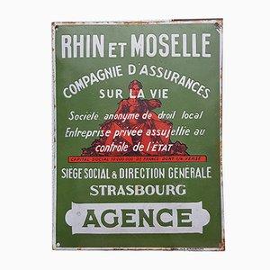 Insegna Rhin et Moselle vintage smaltata di Émaillerie de Strasbourg, anni '30