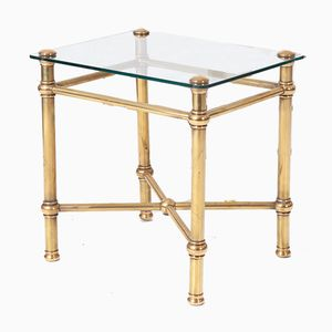 Italian Brass & Glass Side Table, 1970s