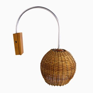 German Wicker Wall Lamp, 1950s